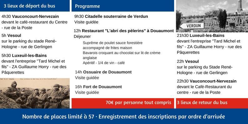 Programme de la journée à Verdun - 3 départs et lieux de retour pour le bus