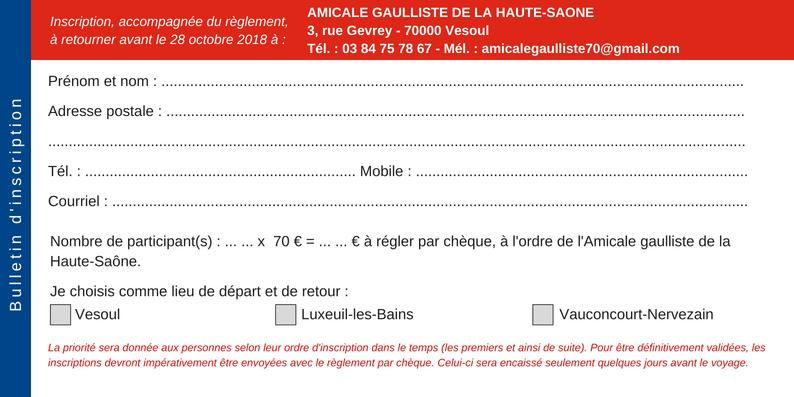 Bulletin à retourner avec le réglement au siège de l'Amicale gaulliste à Vesoul