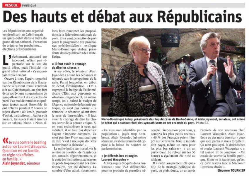 cliquez pour télécharger l'article de L'est républicain sur l'apéro-débat de la Fédération de la Haute-Saône consacré au Grand Débat National