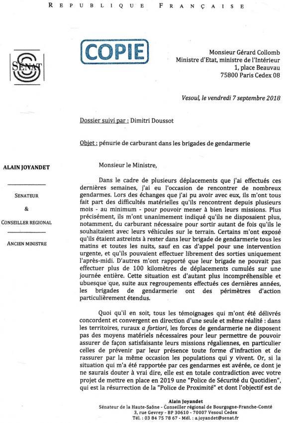 Courrier adressé à Gérard Collomb par Alain Joyandet, Pénurie de carburant dans les gendarmeries