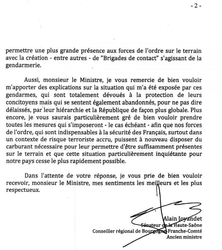 Pénurie de carburant dans les Gendarmeries - Alain Joyandet interpelle le ministre de l'Intérieur
